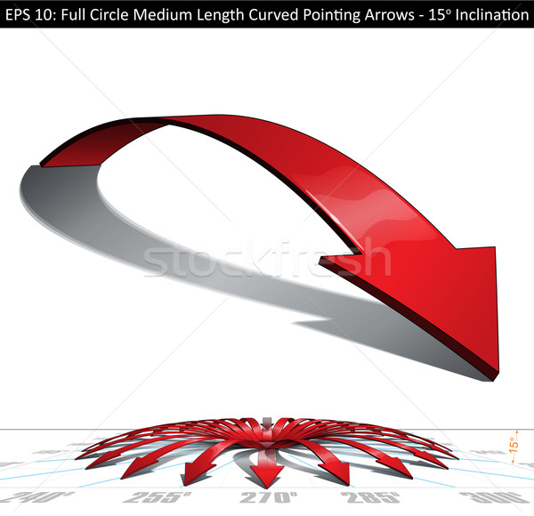 Full Circle Medium Length Curved Pointing Arrows Set - 15 Degree Stock photo © nazlisart