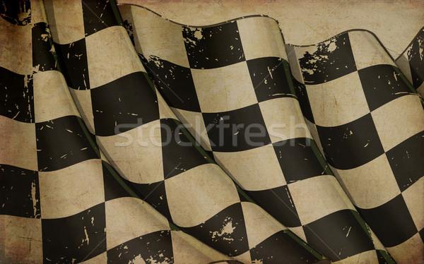 Verseny integet zászló régi papír illusztráció rozsdás Stock fotó © nazlisart