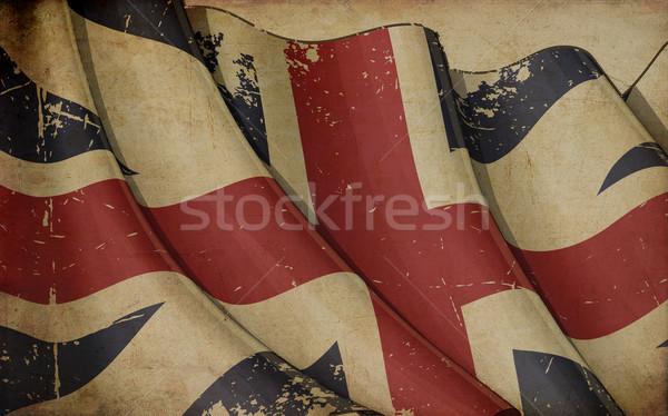 İngiliz bayrağı renkler Eski kağıt örnek Stok fotoğraf © nazlisart