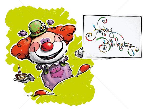 Clown Holding a Happy Birthday Card Stock photo © nazlisart