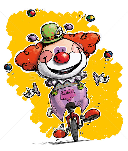 Clown on Unicycle Juggling Stock photo © nazlisart