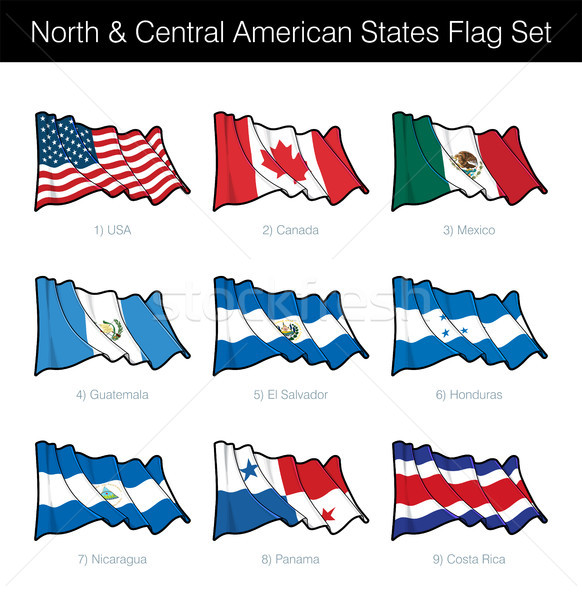 North and Central American States Waving Flag Set Stock photo © nazlisart
