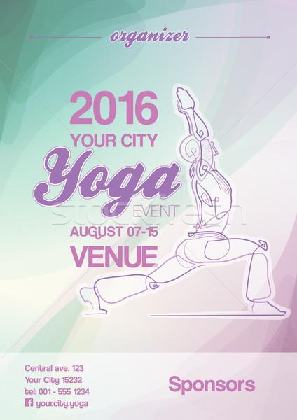 Yoga Event Poster Blue-Green & Purple Stock photo © nazlisart