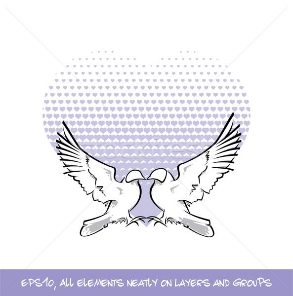 Love Birds Purple Heart of Hearts Stock photo © nazlisart