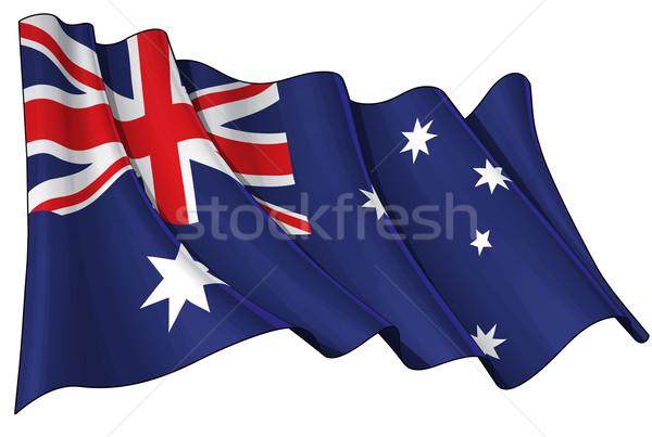 Bandeira Austrália ilustração australiano branco Foto stock © nazlisart