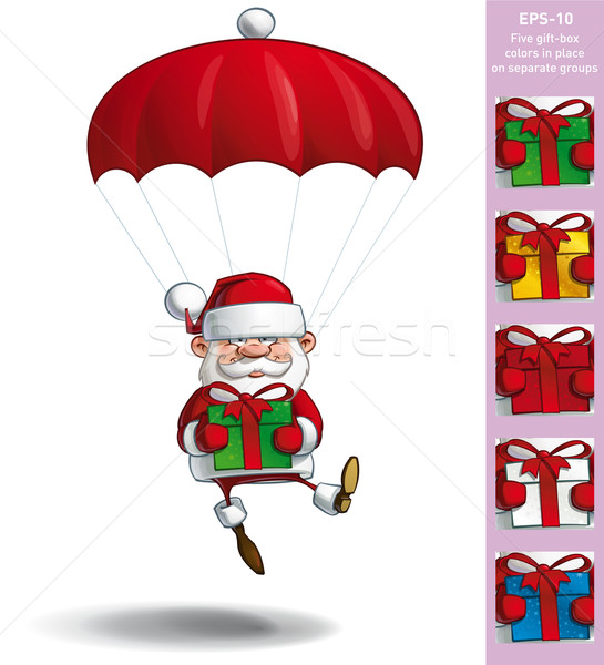Happy Santa - Parachute Holding a Gifts Stock photo © nazlisart