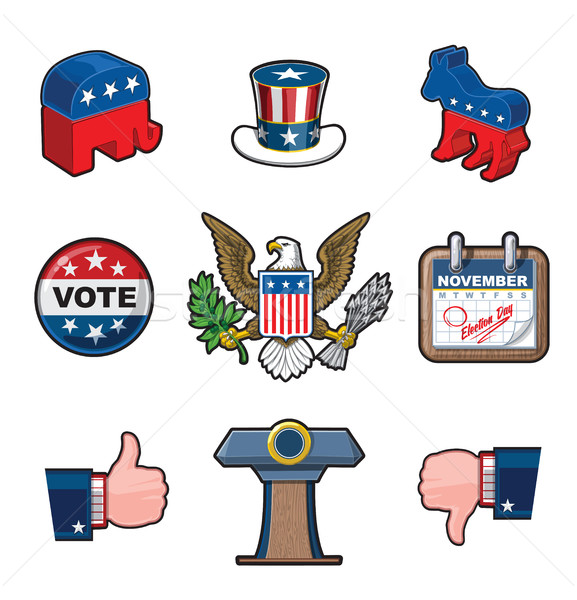 Nine American Elections Icons Stock photo © nazlisart