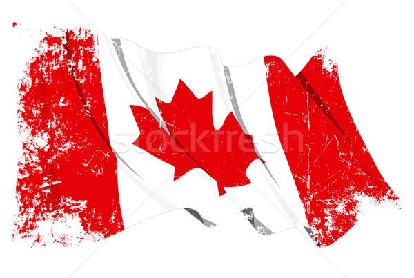 Zászló Kanada grunge illusztráció integet kanadai zászló Stock fotó © nazlisart