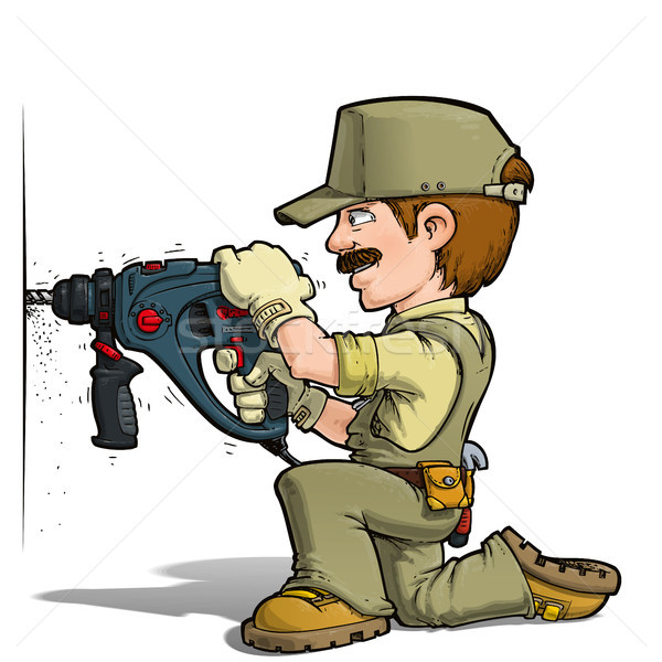 Handyman - Drilling Khaki Stock photo © nazlisart