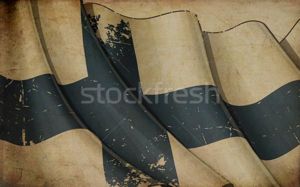 Zászló öreg újság illusztráció rozsdás Finnország Stock fotó © nazlisart