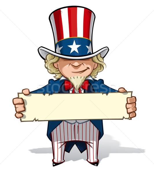 Tio assinar desenho animado ilustração arte Foto stock © nazlisart
