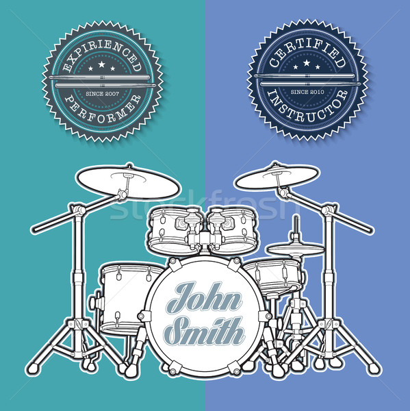 Drum Kit n Instructor - Performer Stamps Stock photo © nazlisart