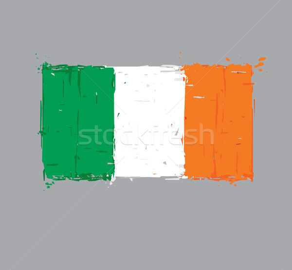 Irish Flag Flat - Artistic Brush Strokes and Splashes Stock photo © nazlisart