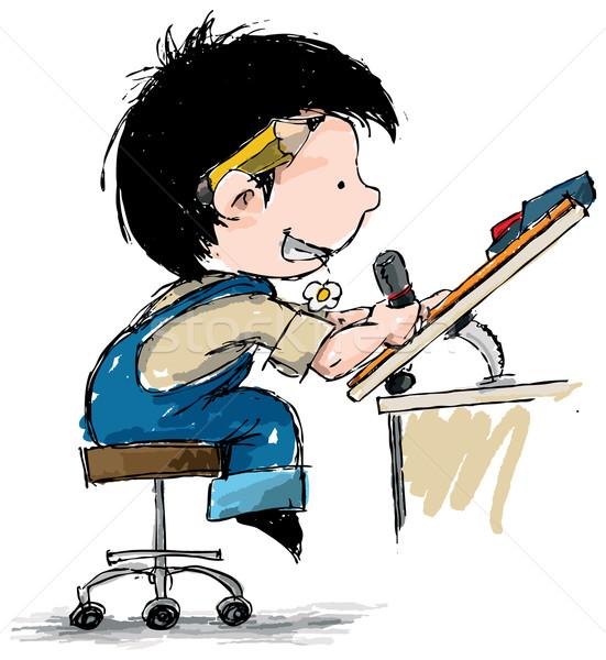 Sorridente menino estilista desenho animado ilustração ligas Foto stock © nazlisart