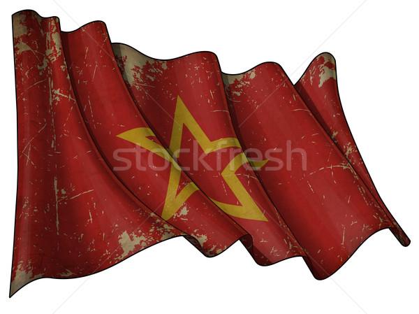 Histórico rojo ejército bandera grunge ilustración Foto stock © nazlisart