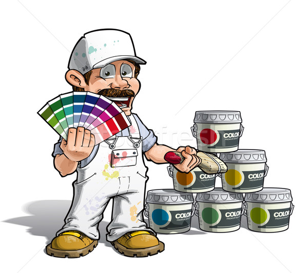 Handyman - Colour Picking Painter White Uniform Stock photo © nazlisart