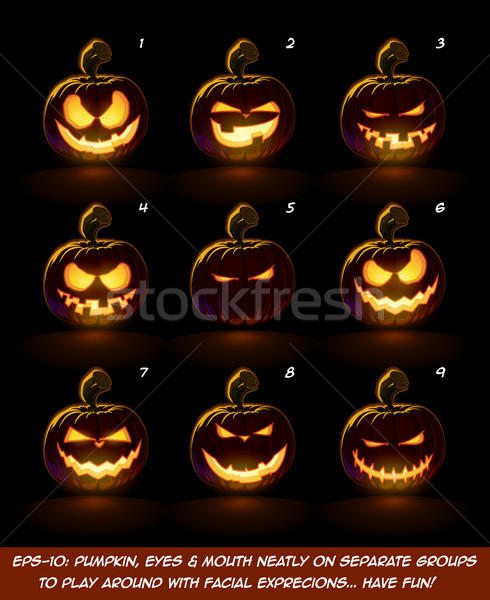 Dark Jack O Lantern Cartoon - 9 Mean n Naughty Expressions Set Stock photo © nazlisart