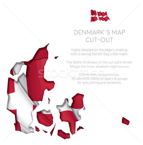 Dánia térkép kivágás integet zászló eps10 Stock fotó © nazlisart