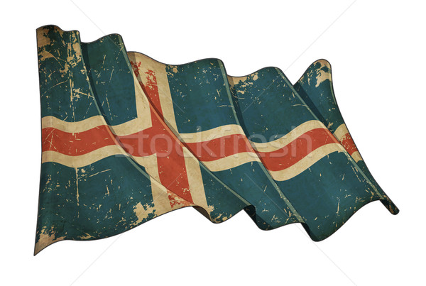 Icelandic Aged Scratched Flag Stock photo © nazlisart