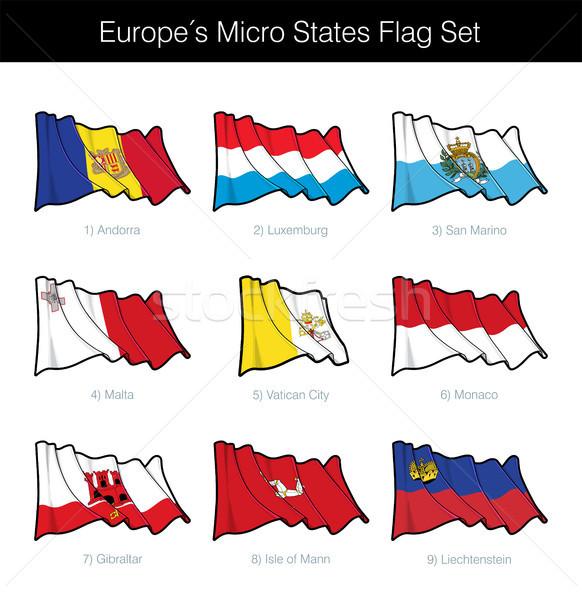 Avrupa mikro bayrak ayarlamak bayraklar Stok fotoğraf © nazlisart