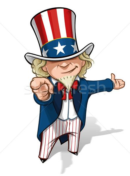 Oom presenteren cartoon illustratie wijzend vinger Stockfoto © nazlisart