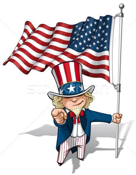 Stock fotó: Nagybácsi · amerikai · zászló · vektor · rajz · illusztráció · tart
