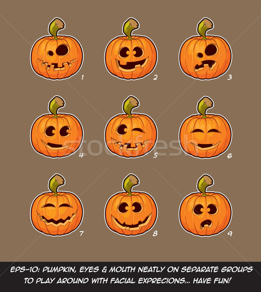 Jack O Lantern Cartoon - 9 Funny n Goof Expressions Set Stock photo © nazlisart