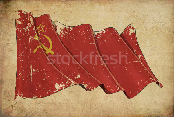 Stock photo: Soviet Union Grunge Flag Textured Background Wallpaper