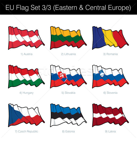European Union Waving Flag Set - Eastern and Central Europe Stock photo © nazlisart