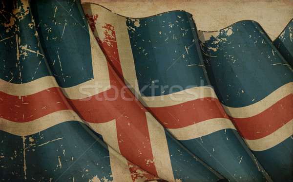 Icelandic Flag Old Newspaper Stock photo © nazlisart