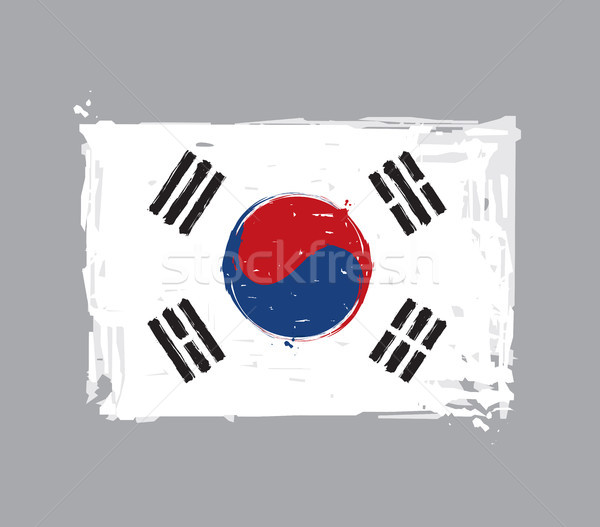 South Korean Flag Flat - Artistic Brush Strokes and Splashes Stock photo © nazlisart
