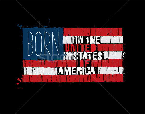 American Text Flag - Born in the USA Stock photo © nazlisart