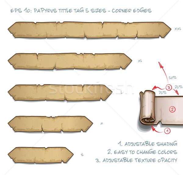 Papirusz címke öt sarok tekercs szett Stock fotó © nazlisart