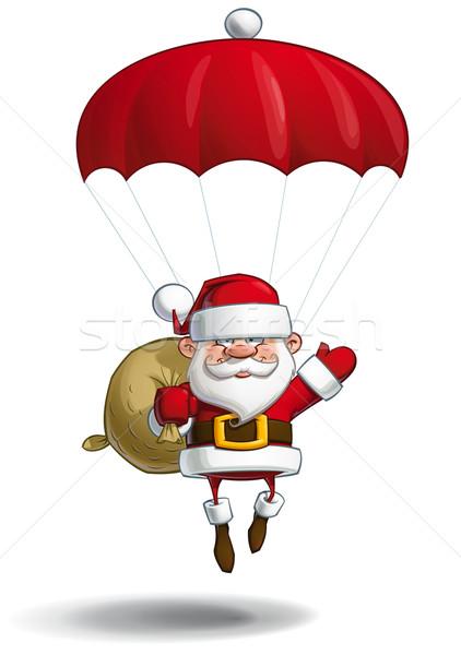 Happy Santa - Parachute Sack of Gifts Stock photo © nazlisart