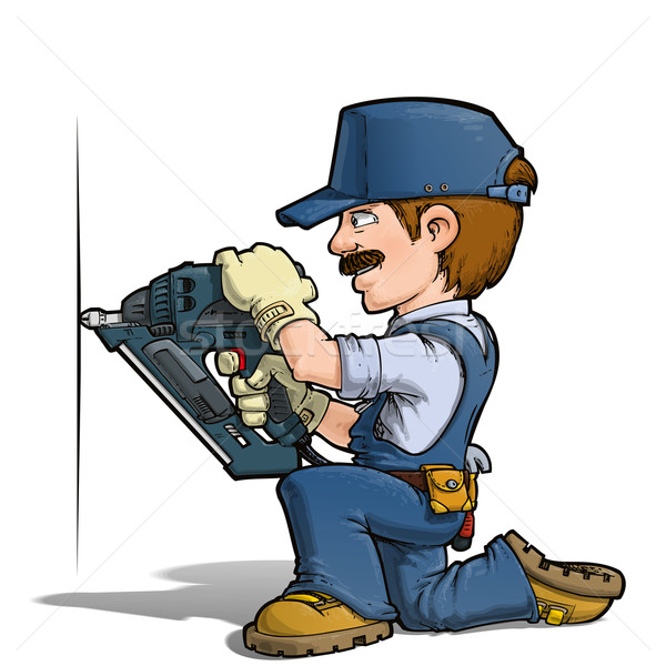 Handyman - Nailing Blue Stock photo © nazlisart