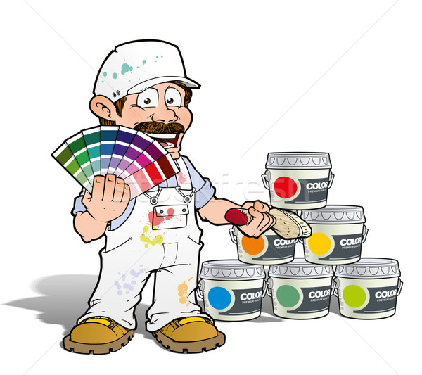 Handyman - Colour Picking Painter - White Stock photo © nazlisart