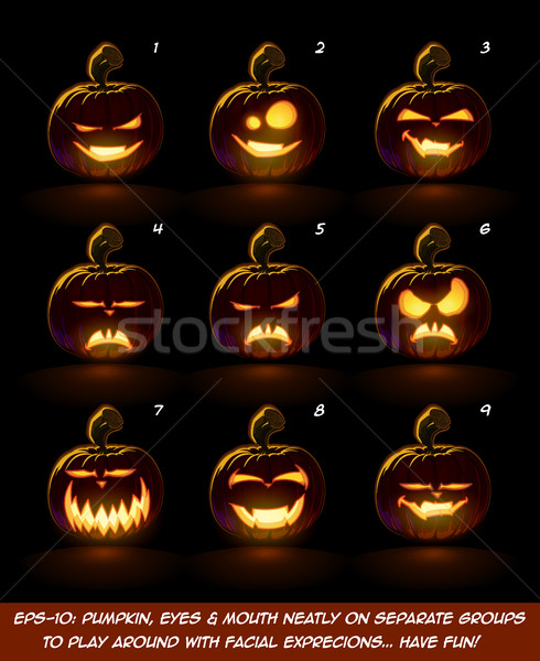 Dark Jack O Lantern Cartoon - 9 Vampire Expressions Set Stock photo © nazlisart