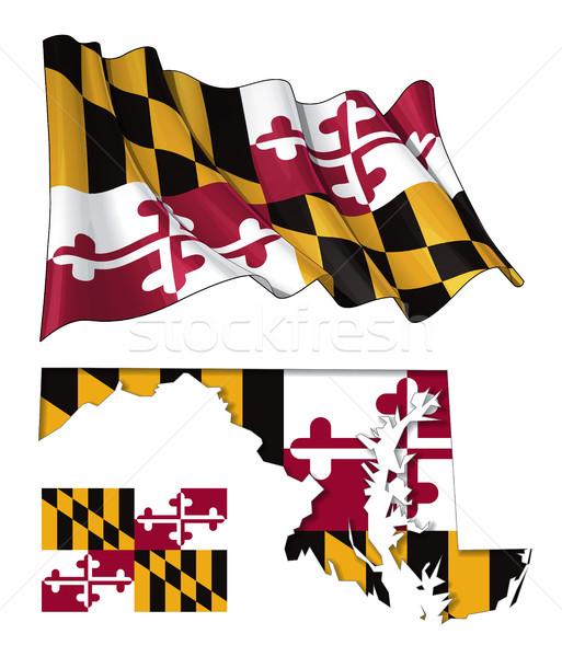 State of Maryland - Map Waving Flat Flag Stock photo © nazlisart