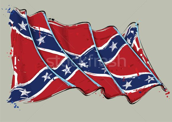 Rebel artistiek borstel vlag vector Stockfoto © nazlisart