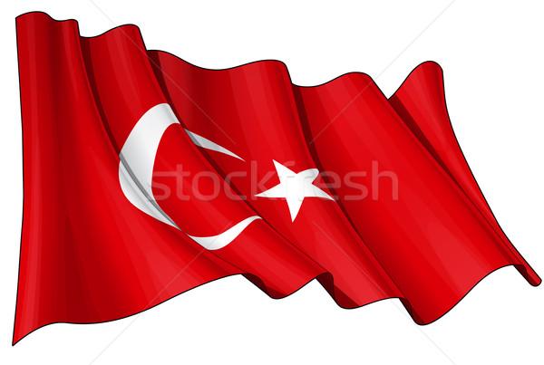 Bandera Turquía ilustración turco viento Foto stock © nazlisart