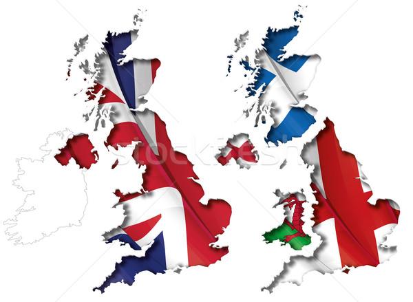UK Flag-Map Inner Shadow Stock photo © nazlisart