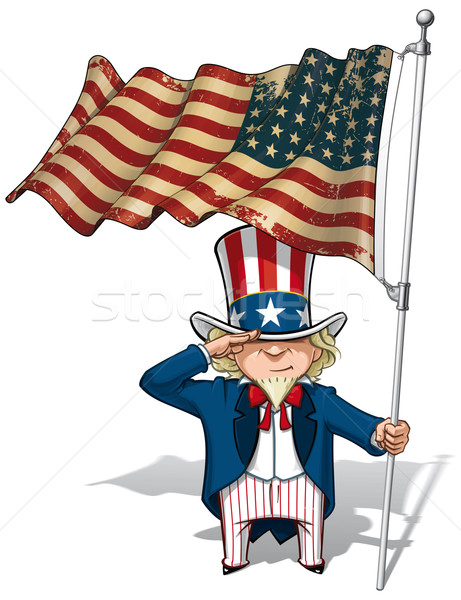 Uncle Sam Saluting the US WWI-WWII (48 star) Flag Stock photo © nazlisart