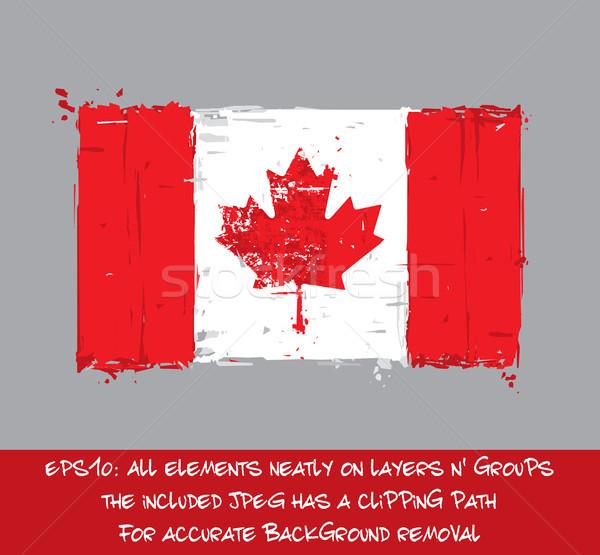 カナダの国旗 芸術的 跳ね フラグ ベクトル ストックフォト © nazlisart