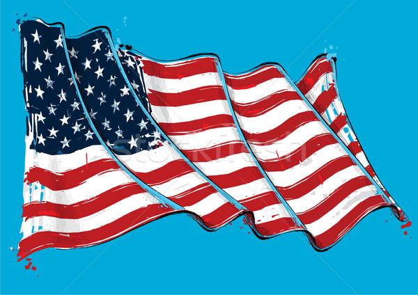 American Artistic Brush Stroke Waving Flag Stock photo © nazlisart