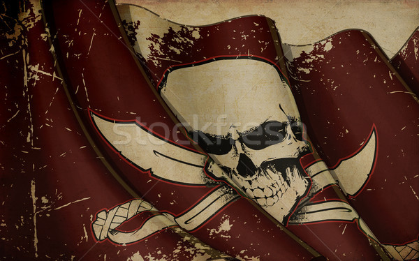 Pirates Skull and Swords Flag Waving Flag Old Paper