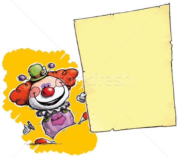 Clown Holding Invitation-Announcement Stock photo © nazlisart