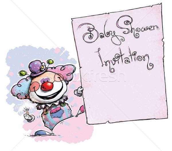 Clown Holding Invitation-Baby Shower Stock photo © nazlisart