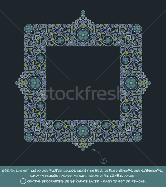 Square Flower Decorative Ornaments - Blue Green Negative Stock photo © nazlisart