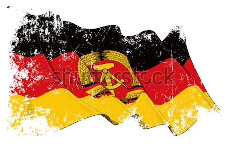 East Germany Flag Scratched Stock photo © nazlisart