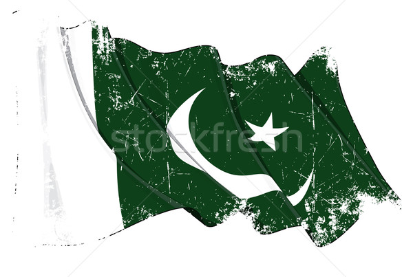 Paquistanês bandeira grunge ilustração textura Foto stock © nazlisart